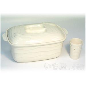 〔四日市万古焼 ぬか漬器〕 ホワイトぬか漬鉢(水抜付)|itibei