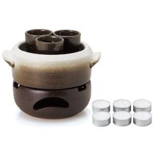 〔四日市万古焼 焼酎サーバー・ボトル〕 燗単器 簡単器(15cm焼杉台付)|itibei