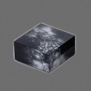 〔越前漆器 盛皿・角箱〕 3.8 角箱 黒/銀八雲|itibei