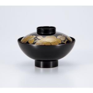 〔会津漆器 吸椀・多用椀〕 溜 古代吸椀 山茶花 5個組|itibei