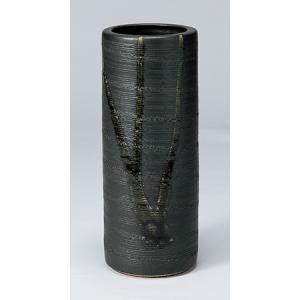 [花瓶(信楽焼)] 黒流寸胴|itibei