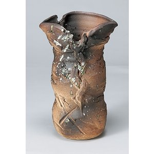 [花瓶(信楽焼)] コゲ荒土盛|itibei