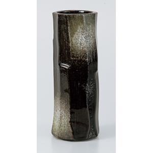 [花瓶(美濃焼)] 黒伊賀八角ケズリ花瓶|itibei