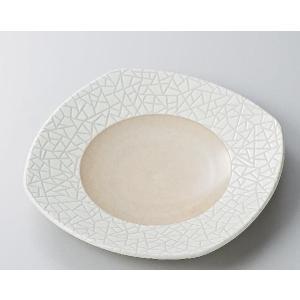 〔パスタ皿 美濃焼〕クリーム輪二重9.5角皿|itibei
