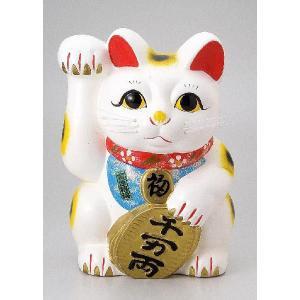〔招き猫 縁起物 インテリア小物〕 白ネコ 右 10号|itibei