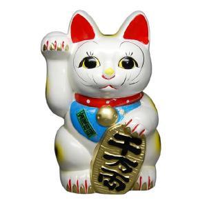 〔招き猫 縁起物 インテリア小物〕 白ネコ 右 8号|itibei