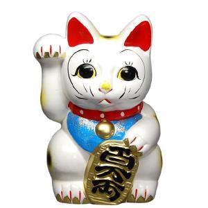 〔招き猫 縁起物 インテリア小物〕 白ネコ 右 7号|itibei
