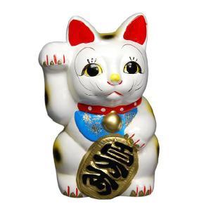 〔招き猫 縁起物 インテリア小物〕 白ネコ 右 6号|itibei
