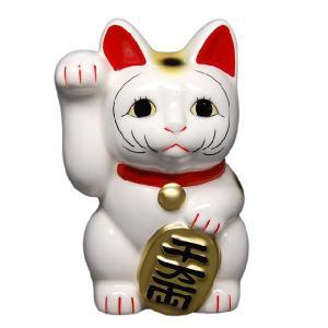 〔招き猫 縁起物 インテリア小物〕 白ネコ 右 5号|itibei