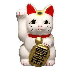 〔招き猫 縁起物 インテリア小物〕 白ネコ 右 4号|itibei