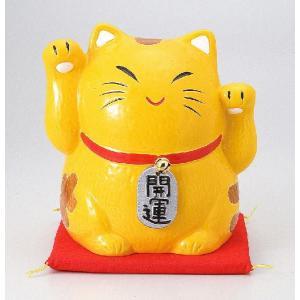 〔招き猫 縁起物 インテリア小物〕 縁起物金運両手招き猫(バンク) 大|itibei