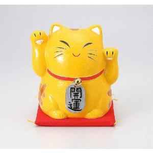 〔招き猫 縁起物 インテリア小物〕 縁起物金運両手招き猫(バンク) 小|itibei