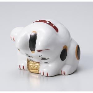 〔招き猫 縁起物 インテリア小物〕 縁起物赤絵おじぎ猫 小|itibei