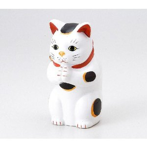 〔招き猫 縁起物 インテリア小物〕 縁起物赤絵お祈り猫 大|itibei