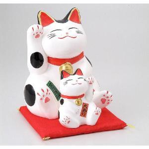 〔置物 縁起物 インテリア小物〕 縁起物孫猫(バンク) 白|itibei