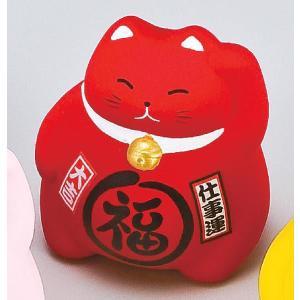 〔招き猫 置物 縁起物 インテリア小物〕 風水BKまる福招き猫 赤|itibei