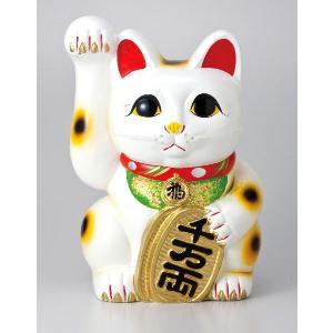 〔常滑焼招き猫 置物 縁起物 インテリア小物〕 白手長小判猫 8号(右手)|itibei