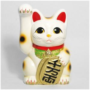 〔常滑焼招き猫 置物 縁起物 インテリア小物〕 白手長小判猫 6号(右手)|itibei