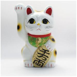 〔常滑焼招き猫 置物 縁起物 インテリア小物〕 白手長小判猫 5号(右手)|itibei