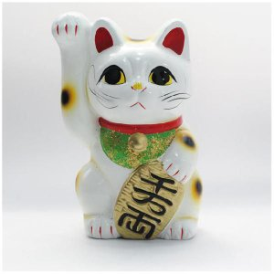 〔常滑焼招き猫 置物 縁起物 インテリア小物〕 白手長小判猫 4.5号(右手)|itibei