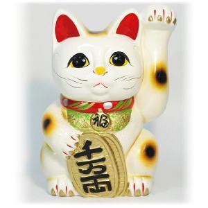 〔常滑焼招き猫 置物 縁起物 インテリア小物〕 白手長小判猫 7号(左手)|itibei
