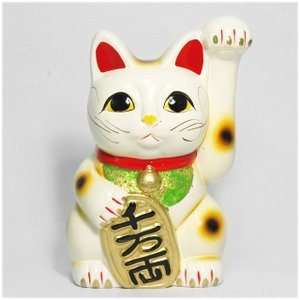 〔常滑焼招き猫 置物 縁起物 インテリア小物〕 白手長小判猫 6号(左手)|itibei