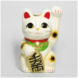 〔常滑焼招き猫 置物 縁起物 インテリア小物〕 白手長小判猫 5号 (左手)|itibei