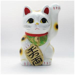 〔常滑焼招き猫 置物 縁起物 インテリア小物〕 白手長小判猫 4.5号(左手)|itibei