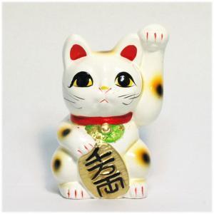 〔常滑焼招き猫〕 白手長小判猫 3号(左手)|itibei