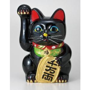 〔常滑焼招き猫 置物 縁起物 インテリア小物〕 黒手長小判猫 8号(右手)|itibei