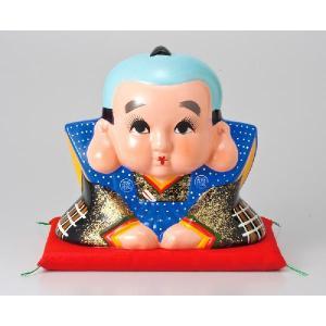 〔福助 人形 常滑焼 置物 縁起物〕 福助 座ぶとん付き 6号|itibei
