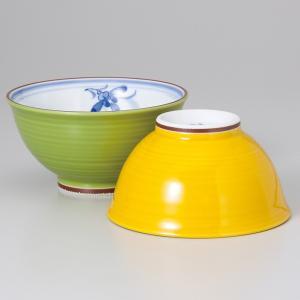 〔飯碗 有田焼〕 ランの花茶漬(緑・黄セット) itibei
