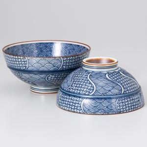 〔飯碗 有田焼〕 地紋織 茶付(大・小セット) itibei