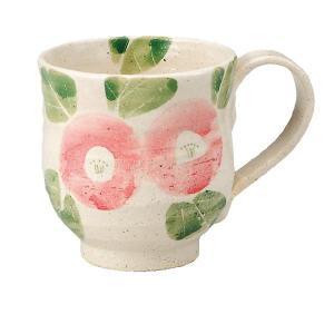 〔九谷焼〕 マグカップ・丸紋ピンク椿 九谷和窯|itibei