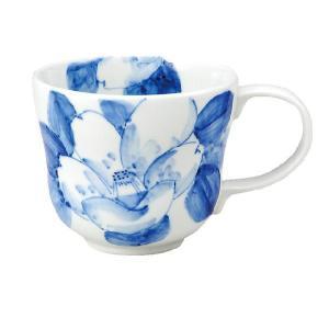 〔九谷焼〕 マグカップ・染付山茶花|itibei