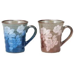 〔九谷焼〕 ペアマグカップ・銀彩山茶花|itibei