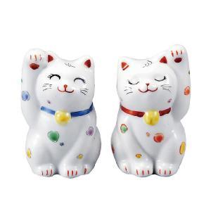 〔九谷焼〕 2.8号ペア招き猫・水玉|itibei