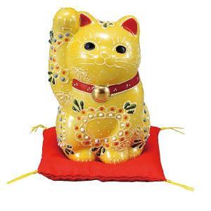 〔九谷焼〕 3.5号招き猫・黄盛(布団付)|itibei