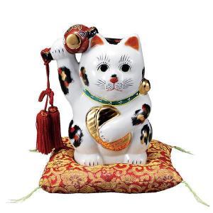 〔九谷焼〕 6号小槌上げ小判招き猫・三毛(布団付)|itibei