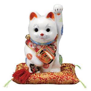 〔九谷焼〕 8号小槌持ち招き猫・白盛(布団付)|itibei