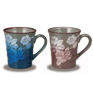 〔九谷焼〕 ペアマグカップ・金銀山茶花|itibei