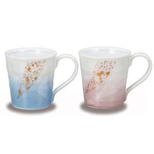 〔九谷焼〕 ペアマグカップ・銀彩金ちらし|itibei