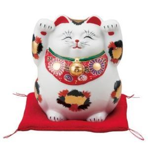 〔九谷焼 縁起物・置物・招き猫〕 4.8号招き猫・金三毛(布団付)|itibei
