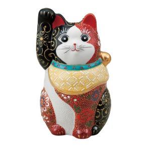 〔九谷焼 縁起物・置物・招き猫〕 4.7号招き猫・赤黒盛|itibei