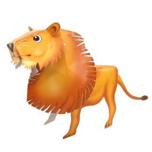 〔のりとハサミがいらないペーパークラフト〕ライオンさん (10入)|itibei