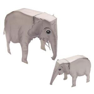 〔のりとハサミがいらないペーパークラフト〕ゾウさんの親子 (10入)|itibei