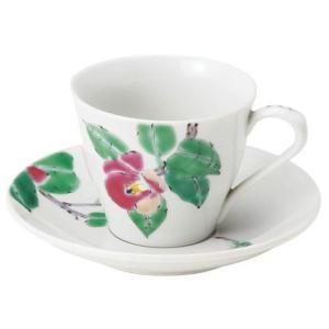 〔カップ&ソーサー九谷焼〕 山近泰 椿 コーヒー碗皿 itibei