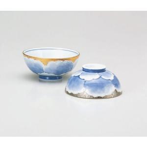 〔飯碗 有田焼〕 文山窯 プラチナ牡丹 組飯碗|itibei