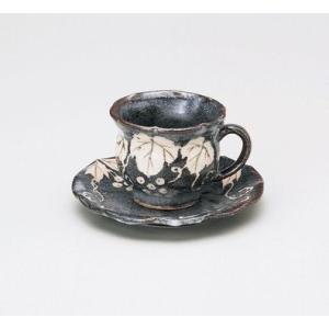 〔カップ&ソーサー 美濃焼〕 玉山窯 鼠志野ぶどう コーヒー碗皿