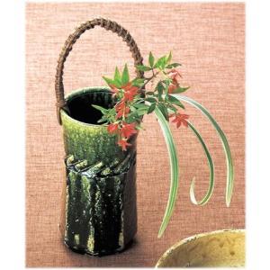 〔花瓶・花器 瀬戸焼〕 陶房淳 織部 つる付花入|itibei